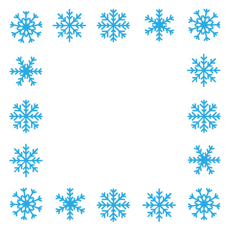 Blue snowflake border on white background Stock Vector - 33307525