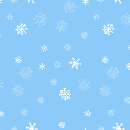 Pretty white repeating snowflake pattern on light blue background Vector
