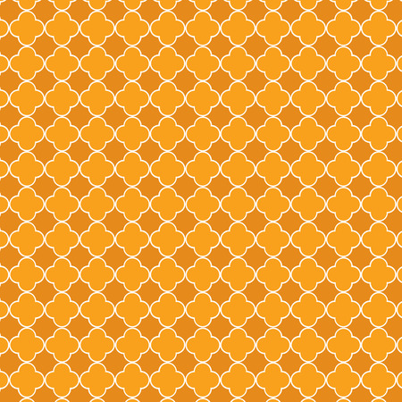 Repeating orange quatrefoil trellis pattern Illustration