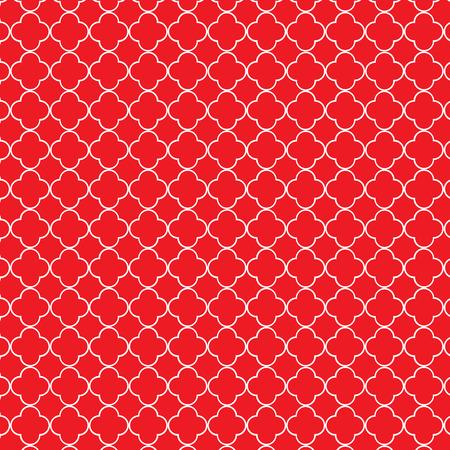 quatrefoil: Repeating red and white quatrefoil trellis pattern Illustration