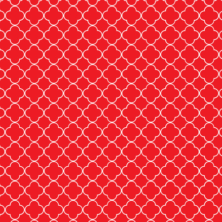 Repeating red and white quatrefoil trellis pattern Illustration