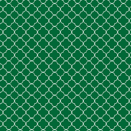 Repeating green quatrefoil background pattern Illustration