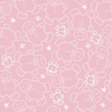 Cute gingerbread men cookie on pink pattern Stock Vector - 89318984