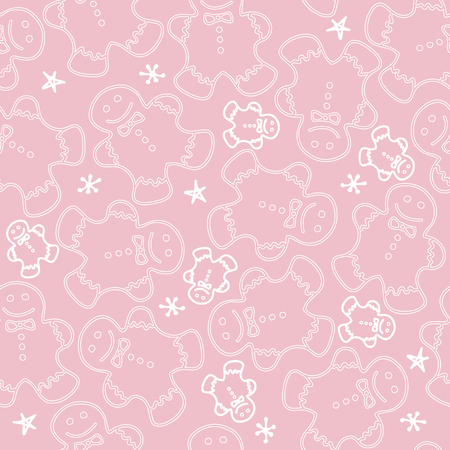 Cute gingerbread men cookie on pink pattern Illustration