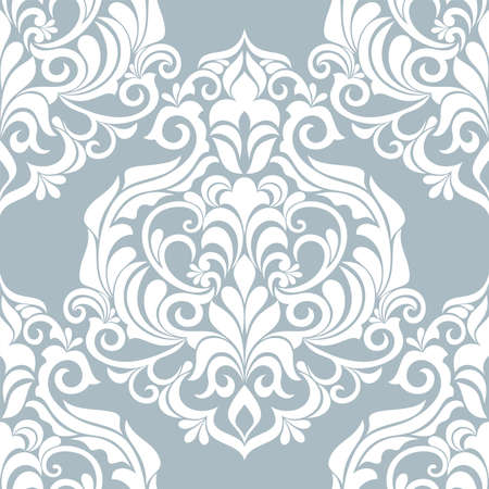 Damask seamless vector background. Wallpaper in the baroque style template. Blue and white floral element. Graphic ornate pattern for wallpaper, fabric, packaging, wrapping. Damask flower ornament.