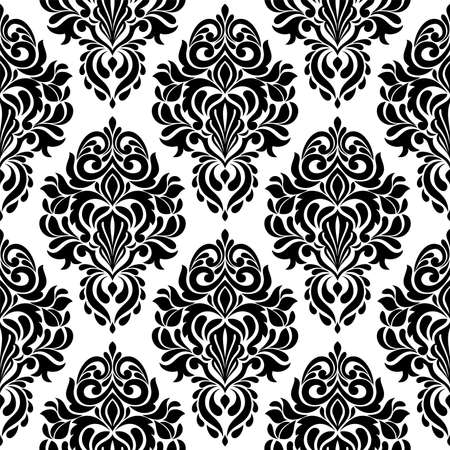 Abstract damask seamless pattern. black and white floral vector background.