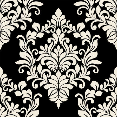 Floral damask. seamless pattern. vintage white and black flower ornament for fabric, packaging, wallpaper. ornate vector background.