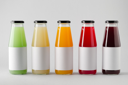 Juice Bottle Mock-Up - Multiple Bottles. Blank Label