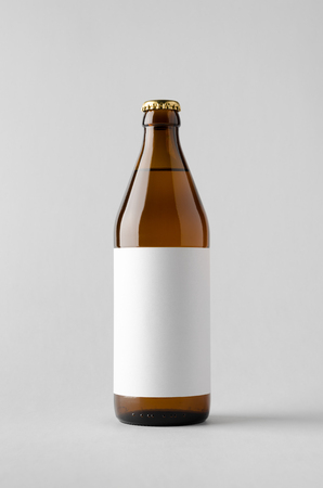 Beer Bottle Mock-Up - Blank Label Stock Photo