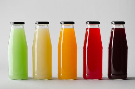 Juice Bottle Mock-Up - Multiple Bottles Banco de Imagens