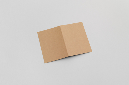 a6: Kraft A6 Bi-Fold  Half-Fold Brochure Mock-Up