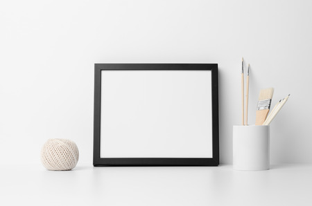 8 × 10 黒いフレーム モックアップ-風景 写真素材