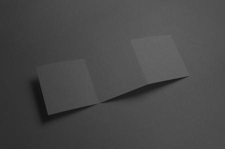z fold: Black Square Z-Fold Brochure Mock-Up