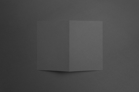 a6: Black A6 Bi-Fold  Half-Fold Brochure Mock-Up