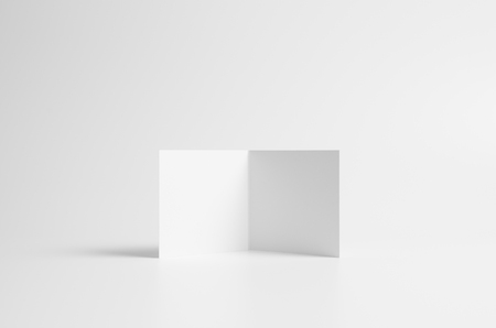 Square Bi-Fold  Half-Fold Brochure Mock-Up. Seamless Background. Фото со стока
