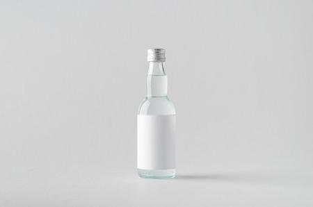 rakia: Miniature SpiritsLiquour Bottle Mock-Up - Blank Label Stock Photo