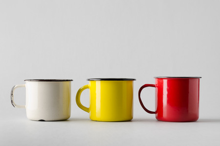 enamel: Enamel Mug Mock-Up - Three Mugs