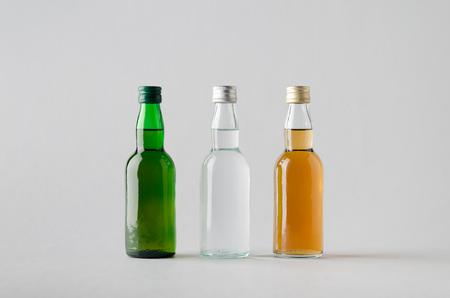 rakia: Miniature SpiritsLiquour Bottle Mock-Up - Three Bottles Stock Photo