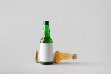 rakia: Miniature SpiritsLiquour Bottle Mock-Up - Two Bottles. Blank Label