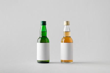 Miniature SpiritsLiquour Bottle Mock-Up - Two Bottles. Blank Label