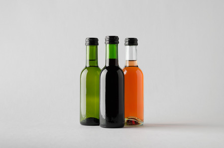 zinfandel: Wine QuarterBottle Mock-Up - Three Bottles Stock Photo