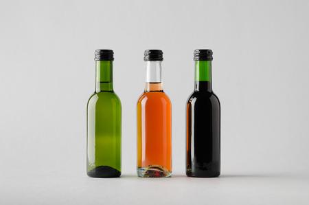 white zinfandel: Wine Quarter Bottle Mock-Up - Three Bottles Stock Photo