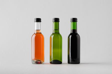 zinfandel: Wine Quarter Bottle Mock-Up - Three Bottles Stock Photo