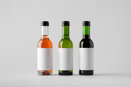 quarter horse: Wine Quarter Bottle Mock-Up - Three Bottles. Blank Label Stock Photo