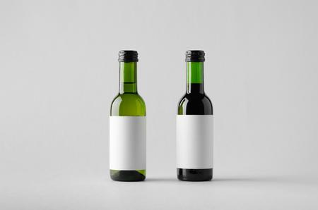 Wine Quarter Bottle Mock-Up - Two Bottles. Blank Label
