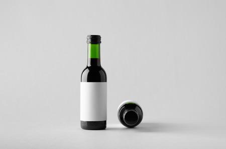 zinfandel: Wine Quarter Bottle Mock-Up - Two Bottles. Blank Label