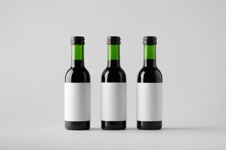 zinfandel: Wine Quarter Bottle Mock-Up - Three Bottles. Blank Label Stock Photo