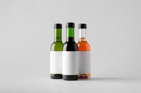 white zinfandel: Wine Quarter Bottle Mock-Up - Three Bottles. Blank Label Stock Photo