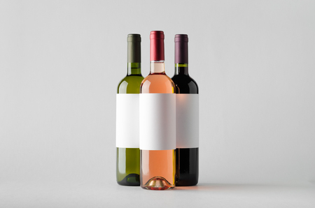 white zinfandel: Wine Bottle Mock-Up - Three Bottles. Blank Label