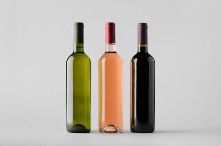 white zinfandel: Wine Bottle Mock-Up - Three Bottles