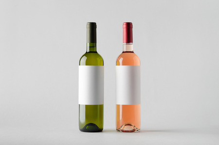 sauvignon blanc: Wine Bottle Mock-Up - Two Bottles. Blank Label