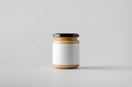 Peanut  Almond  Nut Butter Jar Mock-Up - Blank Label