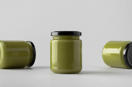 Pumpkin / Hemp Seed Butter Jar Mock-Up - Three Jars Banco de Imagens - 74052609