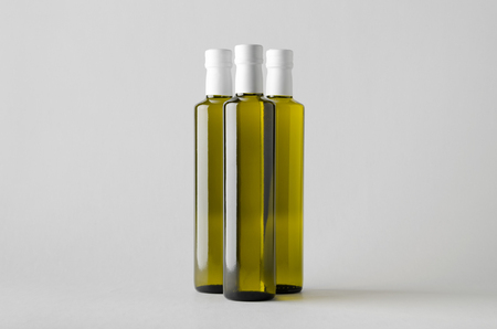 Olive  Sunflower  Sesame Oil Bottle Mock-Up - Three Bottles Imagens