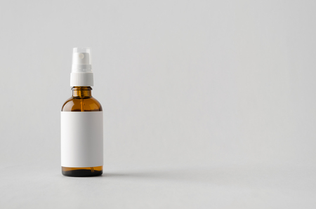 dispenser: Amber Spray Bottle Mock-Up - Blank Label