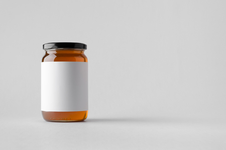 Honey Jar Mock-Up - Blank Label Stok Fotoğraf - 80483443