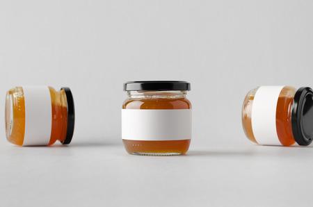 Apricot Jam Jar Mock-Up - Three Jars. Blank Label