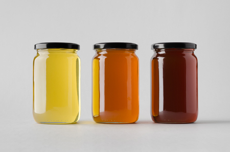 Honey Jar Mock-Up - Three Jars 版權商用圖片 - 80545860