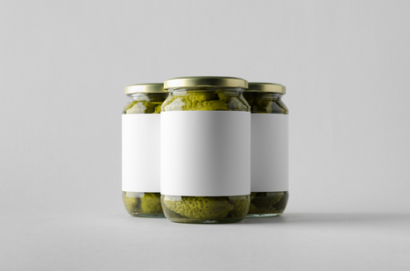Pickled Cucumber Jar Mock-Up - Three Jars. Blank Label.