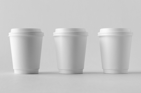 8 oz. white double wall coffee paper cup mock-up with lid.
