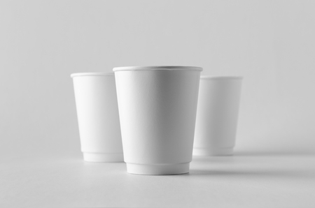 8 oz. white double wall coffee paper cup mock-up without lid. Banco de Imagens