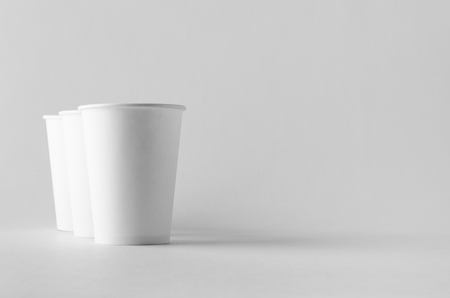 12 oz. white coffee paper cup mock-up without lid.