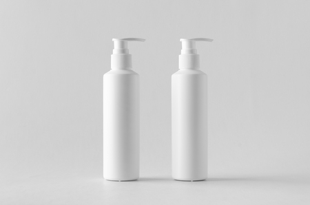 White cosmetic shampoo dispenser bottle mock-up.