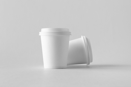8 oz. white coffee paper cup mock-up with lid.