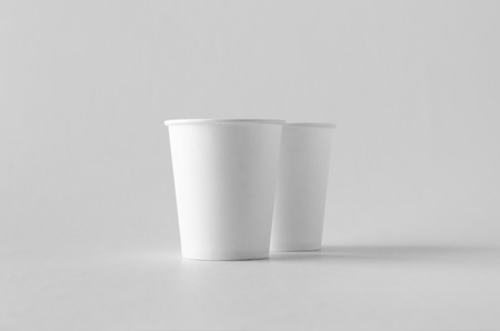 8 oz. white coffee paper cup mock-up without lid.