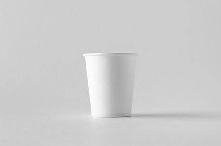 8 oz. white coffee paper cup mock-up without lid. Banco de Imagens - 115963484